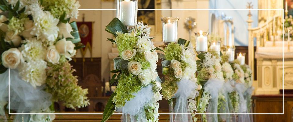 Dekoracje ślubne wkościele